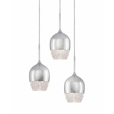Cabaret 3-Light Cascade Pendant Finish: Chrome