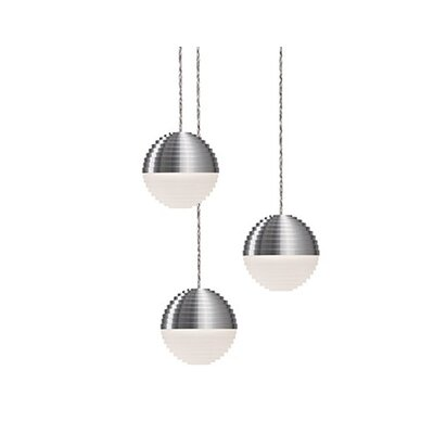 Divine 3-Light Cascade Pendant Shade Color: Brushed Nickel/Cream