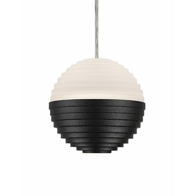 Divine 1-Light Globe Pendant Shade Color: Black/Cream