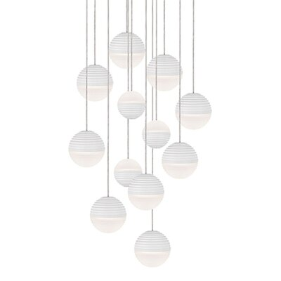 Divine 12-Light Cascade Pendant Shade Color: White/Cream