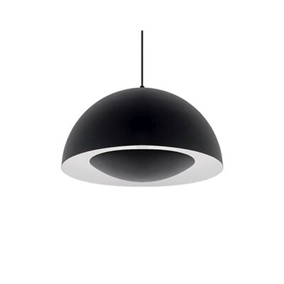 Karmis 1-Light Bowl Pendant Finish: Black, Size: 8 H x 16 W x 16 D