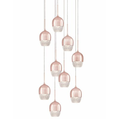Cabaret 9-Light Cascade Pendant Finish: Rose Gold