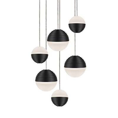 Divine 6-Light Cascade Pendant Shade Color: Black/Cream