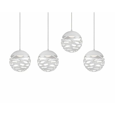 Gregor 4-Light Cascade Pendant Shade Color: White