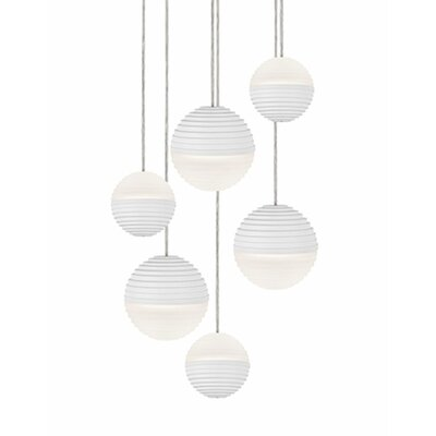 Divine 6-Light Cascade Pendant Shade Color: White
