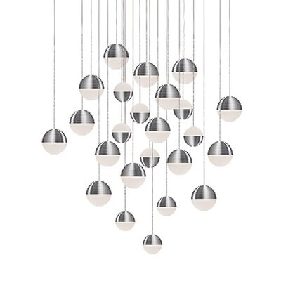 Divine 24-Light Cascade Pendant Shade Color: Brushed Nickel/Cream