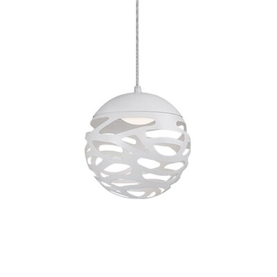 Gregor 1-Light Globe Pendant Size: 7 H x 7 W x 7 D, Shade Color: White