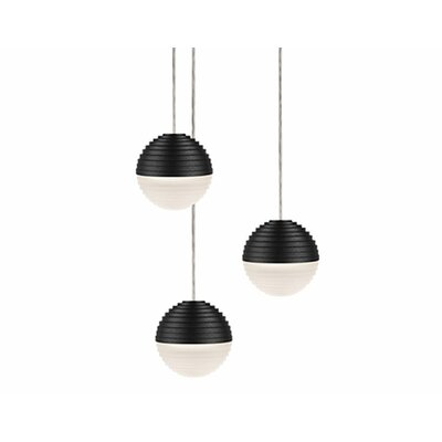 Divine 3-Light Cascade Pendant Shade Color: Black/Cream