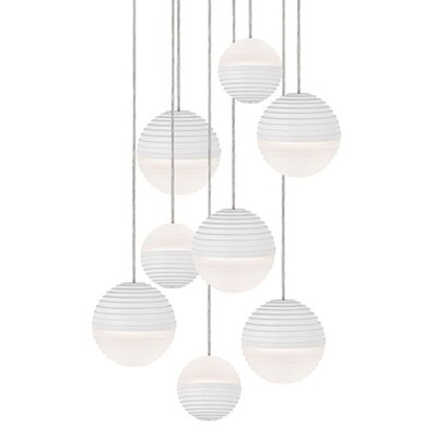Divine 9-Light Cascade Pendant Shade Color: White/Cream