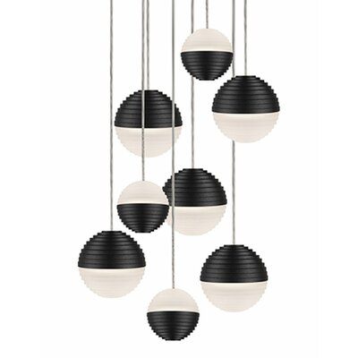 Divine 9-Light Cascade Pendant Shade Color: Black/Cream