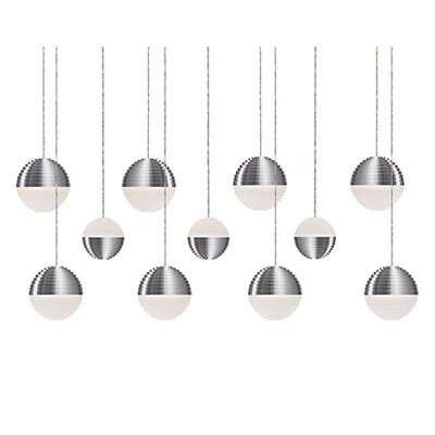 Divine 11-Light Cascade Pendant Shade Color: Brushed Nickel/Cream