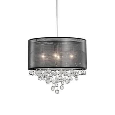 Ophelia 4-Light Crystal Pendant Shade Color: Black