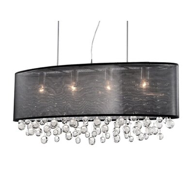 Ophelia 6-Light Crystal Pendant Shade Color: Black