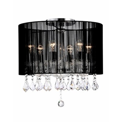 Jemly 6-Light Semi Flush Mount Shade Color: Black