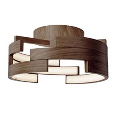 Heather 1-Light Flush Mount Finish: Walnut, Size: 6.5 H x 15.75 W x 15.75 D