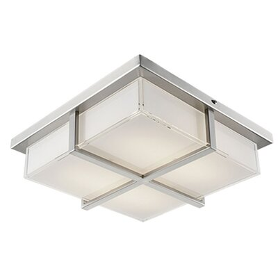 Heather 1-Light Flush Mount Base Finish: Brushed Nickel, Size: 3.5 H x 13 W x 13 D