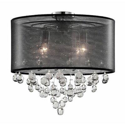 Ophelia 4-Light Semi Flush Mount Shade Color: Black