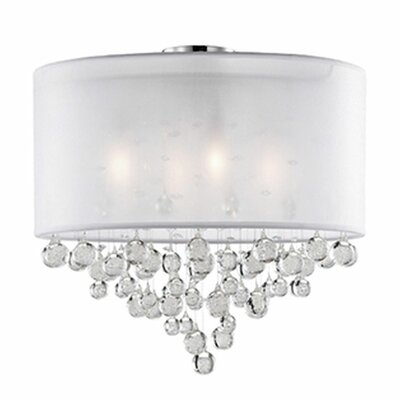 Ophelia 4-Light Semi Flush Mount Shade Color: White