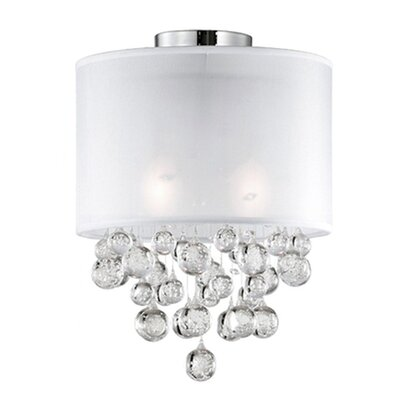 Ophelia 2-Light Semi Flush Mount Shade Color: White