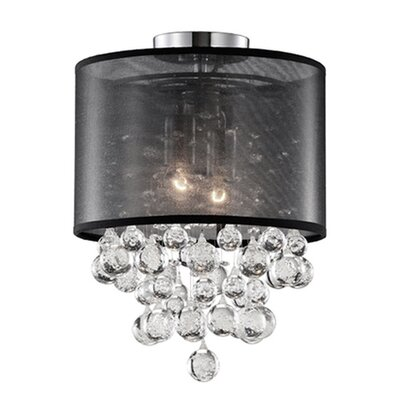 Ophelia 2-Light Semi Flush Mount Shade Color: Black