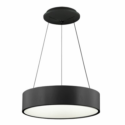 Nevaeh 1-Light Drum Pendant Finish: Black, Size: 4 H x 24 W x 24 D