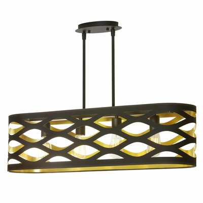 Countess 4-Light Kitchen Island Pendant Finish: Black/Gold