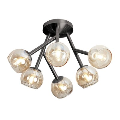Towards 6-Light Semi Flush Mount Finish: Vintage Steel, Shade Color: White