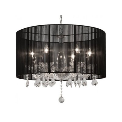 Sharolyn String Shade 6-Light Drum Chandelier Finish: Black