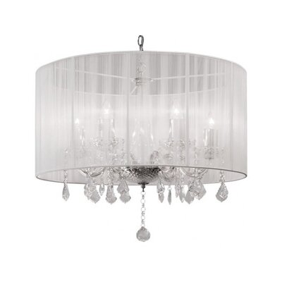 Sharolyn String Shade 6-Light Drum Chandelier Finish: White