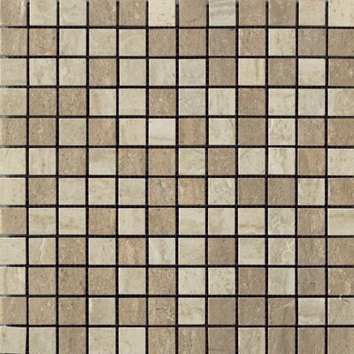 Travertini Porcelain Mosaic Tile in Polished Walnut/Cream