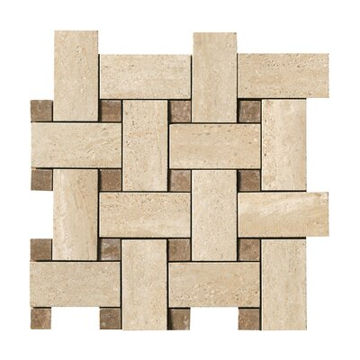 Travertini Random Sized Porcelain Mosaic Tile in Cream