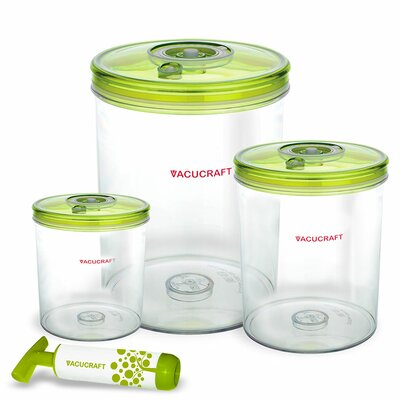 Vacucraft Vacuum Cylinder 3 Container Food Storage Set