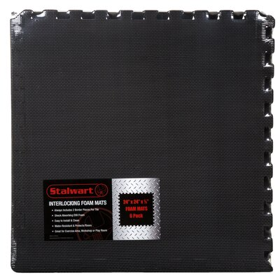 Black EVA Foam Floor Mats Set of 6