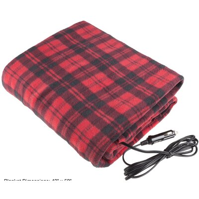 12 Volt Plaid Electric Blanket Color: Red