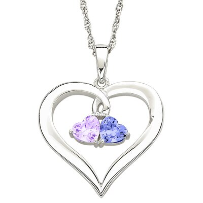 Remy and Rose Sterling Silver Couples Heart Birthstone Necklace - Birthstone 1: September, Birthstone 2: March