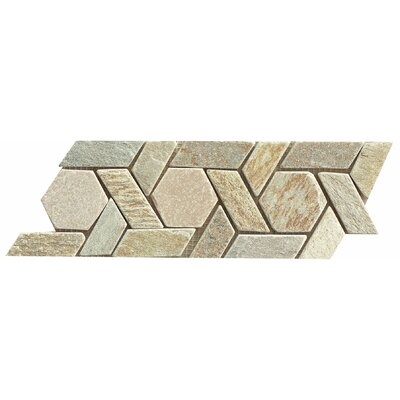 12 x 4.75 Stone Mosaic Liner Tile in Amber Gold