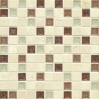 Kismet 1 x 1 Glass Mosaic Tile in Paradise