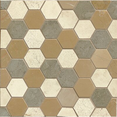 2 x 2 Limestone Mosaic Tile in Brown