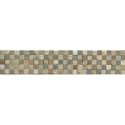 10.25 x 2 Stone Mosaic Liner Tile in Amber Gold/Chinese Multicolor