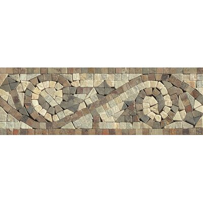 12 x 4 Stone Mosaic Liner Mystic Swirl Tile in Amber Gold/Chinese Multicolor