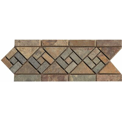 12 x 4.75 Stone Mosaic Liner Tile in Rajah Multicolor
