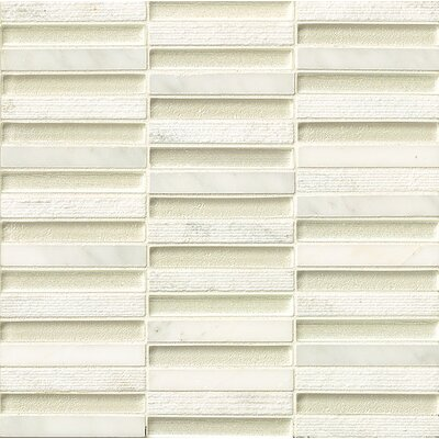 Tessuto 0.5 x 4 Stone and Glass Mosaic Tile in White