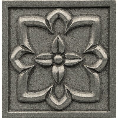 Ambiance Insert Romanesque 4 x 4 Resin Tile in Pewter