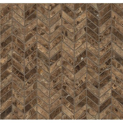 Chevron Marble Polished Mosaic Tile in Emperador Dark