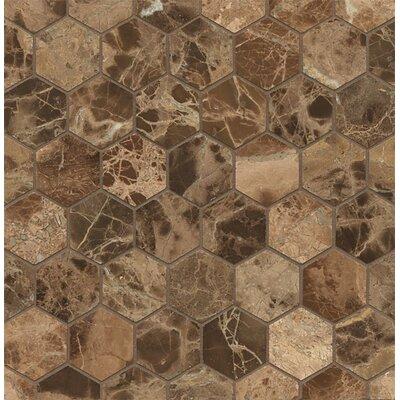 Hexagon Marble Polished Mosaic Tile in Emperador Dark