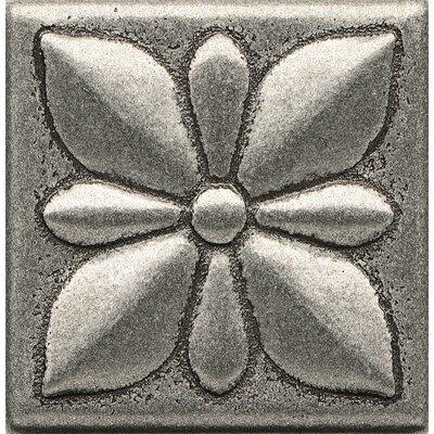 "Bedrosians Ambiance Insert Jasmine 2"" X 2"" Resin Tile In Pewter"