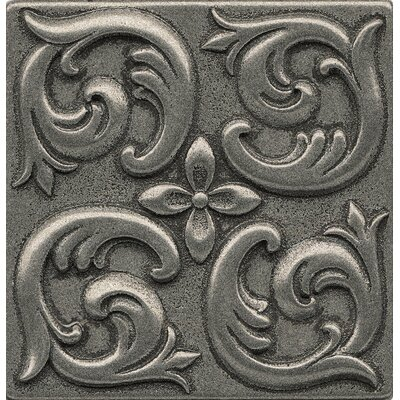 Ambiance Insert Wave 4 x 4 Resin Tile in Pewter