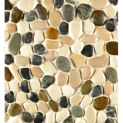 Hemisphere Random Sized Stone Pebble Tile in Glazed Malaga Bay