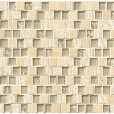 Tessuto 0.75 x 1 Stone and Glass Mosaic Tile in Beige