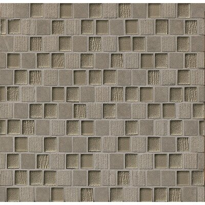 Tessuto 0.75 x 1 Stone and Glass Mosaic Tile in Dark Gray